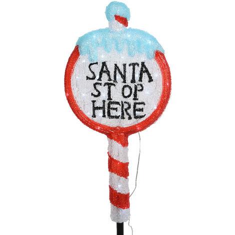 Figura señal stop santa con estaca para jardin 93cm