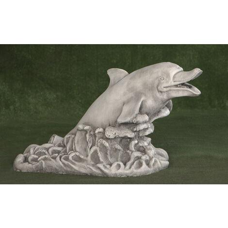 """main image of """"Figura Surtidor clásica de hormigón-piedra Mod. delfin 32x70x41cm.(sin peana)"""""""