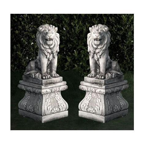 FIGURAS DE PIEDRA* CLASICA Mod. PAREJA DE LEONES 50x28x66cm. PEANA 41x47cm. (incluye: 2 leones y 2 peanas)