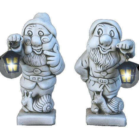 Figuras Pareja de Enanos con Farol de hormigón-piedra para jardín o exterior 46cm.
