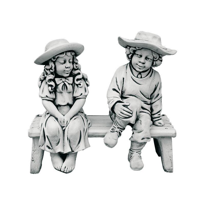 Anaparra - Figure décorative Banc avec enfants pour les extérieurs en pierre artificielle (béton) 80x80cm.