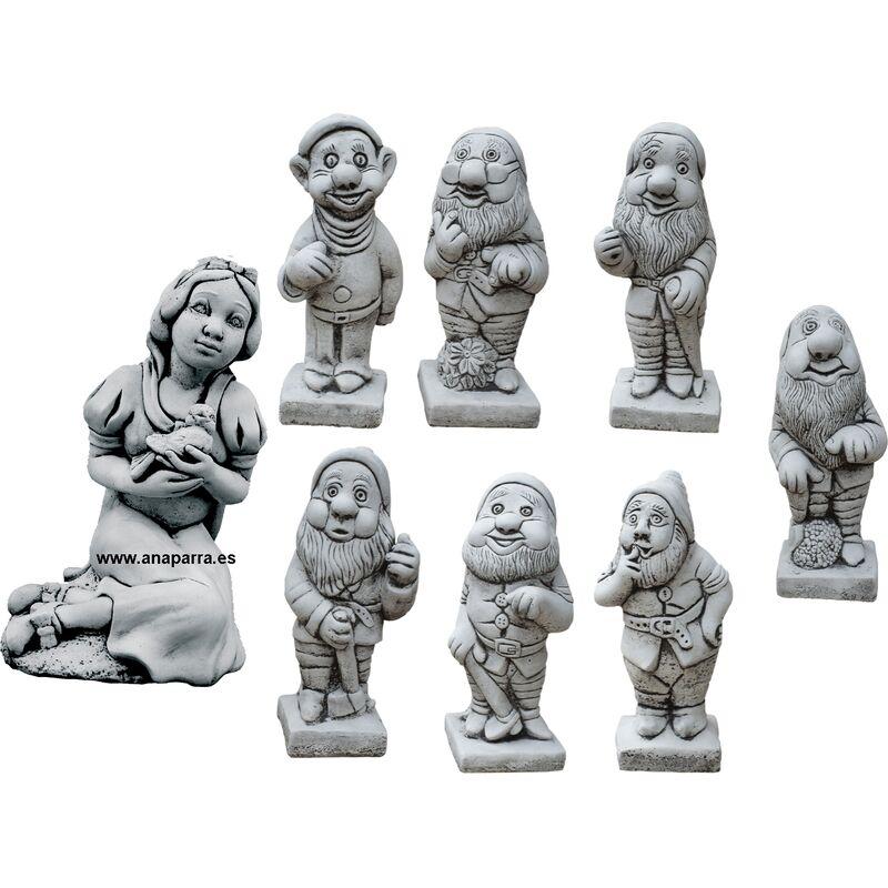 Anaparra - Figure de Blanche-Neige et les sept nains pour les extérieurs en pierre artificielle (béton)