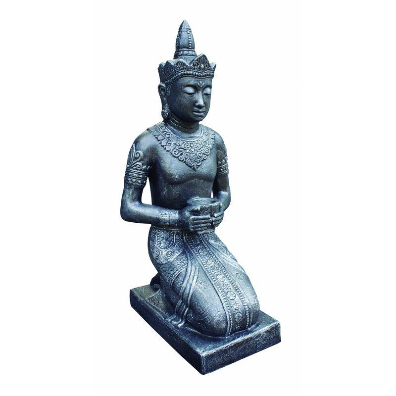 Anaparra - Figure de Bouddha Thai pour les extérieurs en pierre artificielle (béton) 50X45X105cm. Argent