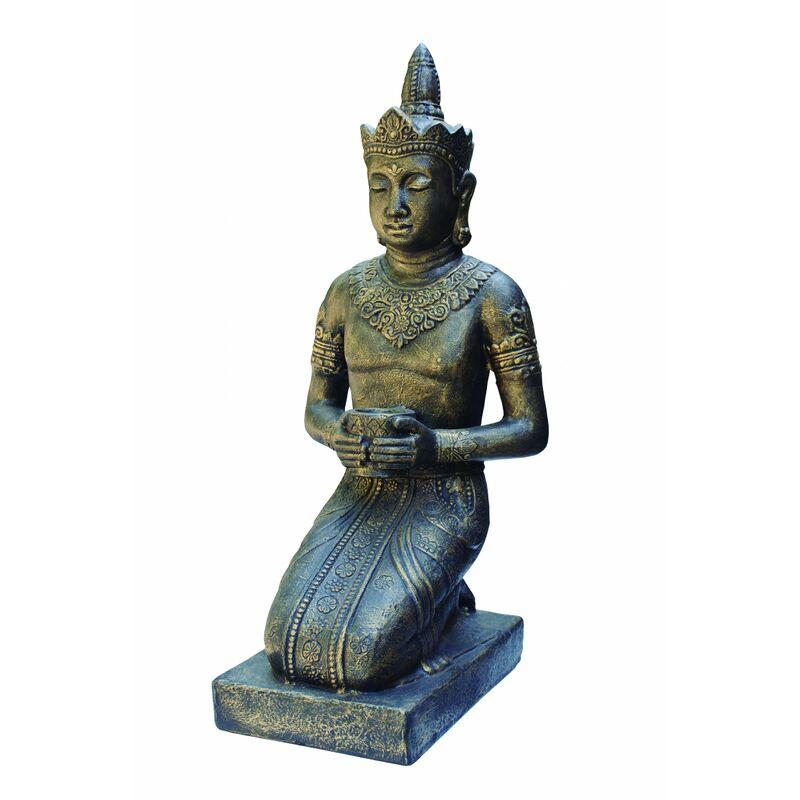 Anaparra - Figure de Bouddha Thai pour les extérieurs en pierre artificielle (béton) 50X45X105cm. Bronze