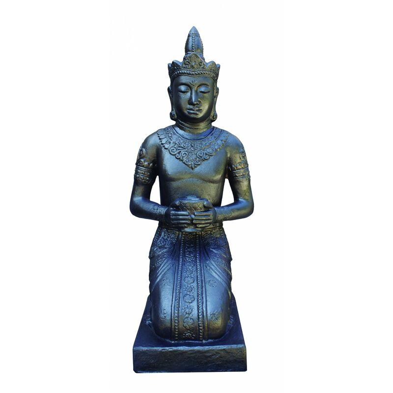 Anaparra - Figure de Bouddha Thai pour les extérieurs en pierre artificielle (béton) 50X45X105cm. Negro