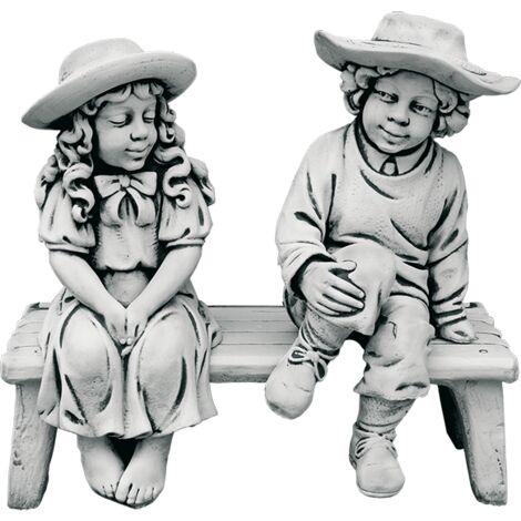 Figure décorative Banc avec enfants pour les extérieurs en pierre artificielle (béton) 80x80cm.