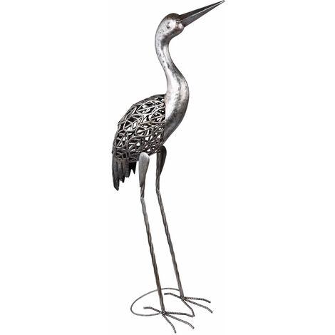 """main image of """"Figurines de décoration de jardin Figurines LED pour le jardin Décoration de jardin Animaux pour l'extérieur, figurines de balcon, décoration de terrasse, grue métal, gris, LxH 29 x 77 cm"""""""