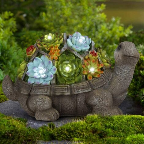 Figurines de jardin de tortue décor extérieur, art de jardin extérieur pour décor de jardin automne hiver, statue solaire extérieure avec 7 LED pour patio, pelouse, décoration d'art de cour, cadeau de jardin de pendaison de crémaillère