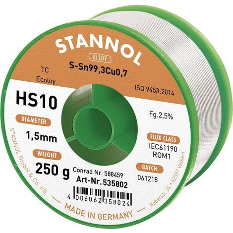Fil à souder sans plomb HS10 SN99CU1 1,5mm 250g Stannol S66130