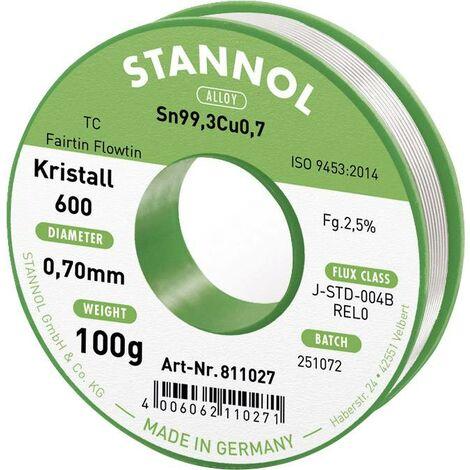 Fil à souder souple Stannol Kristall 600 en alliage Flowtin TC Sn99Cu1 avec 2,5 % de fondant, 0,7 mm de diamètre sur bobine de 100 g Q714892