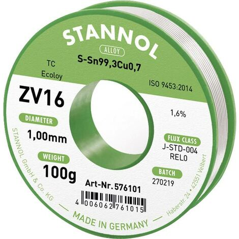 Fil à souder Stannol ZV16 en alliage Sn99Cu1 avec 1,6 % de fondant, 1,0 mm de diamètre sur bobine de 100g Q714392