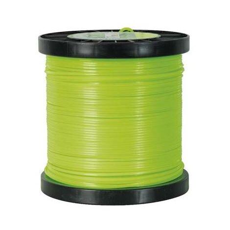 Fil carré pour débroussailleuse 3 mm x 50 m en bobine (nylon haute densité)