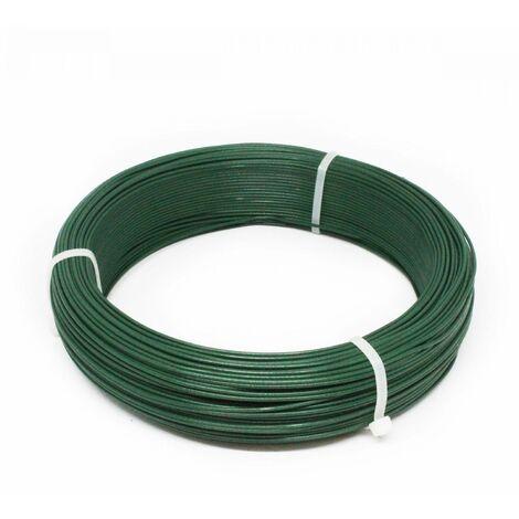 Fil d'attache en acier galvanisé plastifié pour grillage ou autre - 100 m x 1.5mm Ø - Vert - Linxor