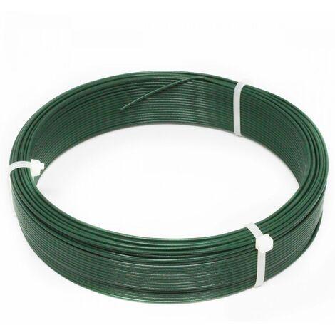 Fil d'attache en acier galvanisé plastifié pour grillage ou autre - 50 m x 1.5mm Ø - Vert - Linxor
