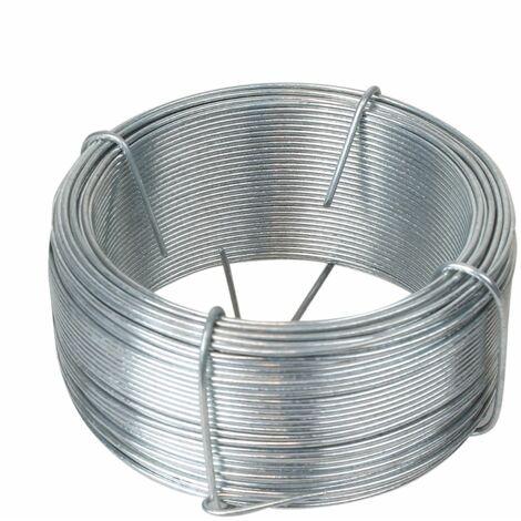 Fil d'attache en acier galvanisé pour grillage ou autre - 50 m x 1.3mm Ø - Gris - Linxor