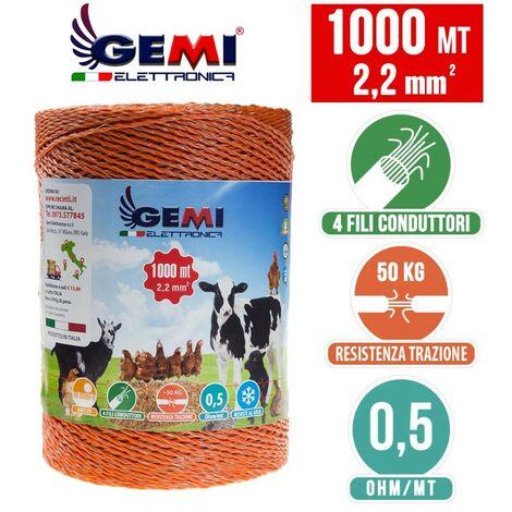 Fil De Cloture Electrique 1000 Mt - 2,2 Mm² Gemi Elettronica - Moutons, Porcs, Bovins, Poulets Et Petits Animaux