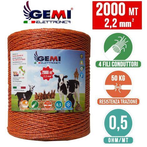 Fil De Cloture Electrique 2000 Mt - 2,2 Mm² Gemi Elettronica - Moutons, Porcs, Bovins, Poulets Et Petits Animaux