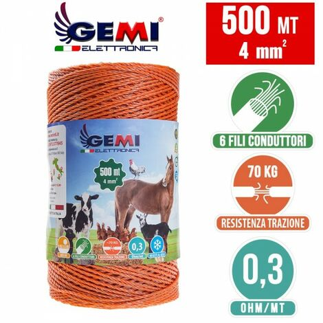 Fil De Cloture Electrique 500 Mt - 4 Mm² Gemi Elettronica - Moutons, Porcs, Bovins, Poulets Et Petits Animaux