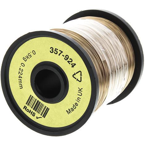 Fil de cuivre 0,04 mm² RS PRO 31 AWG Mono conducteur diamètre 0,26mm, longueur 1300m