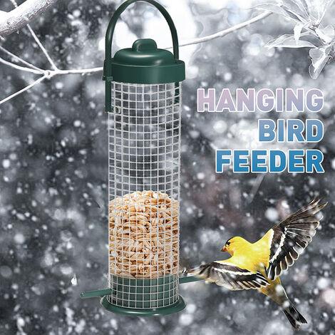 Fil de fer Style vert extérieur suspendu oiseaux sauvages graines d'arachide mangeoire cintre station d'alimentation debout