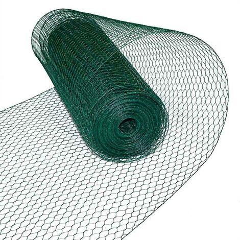 Fil de lapin fil de volière maille hexagonale 0,75 x 25 m grillage vert 13 mm