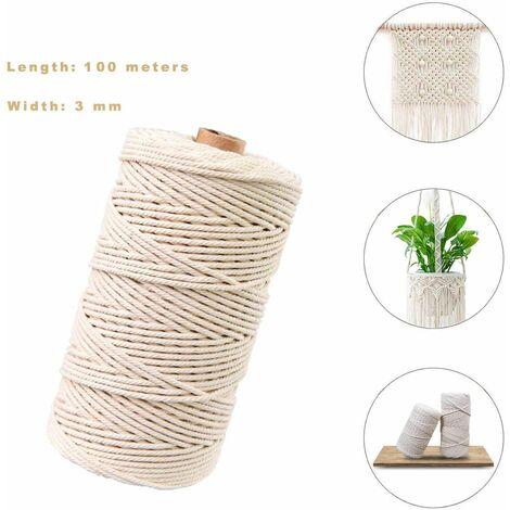 fil de macramé,Coton Naturel Corde en Jute,Corde de Coton Cordon pour Macramé,Corde de Coton,Macramé pour DIY (100M-3mm)