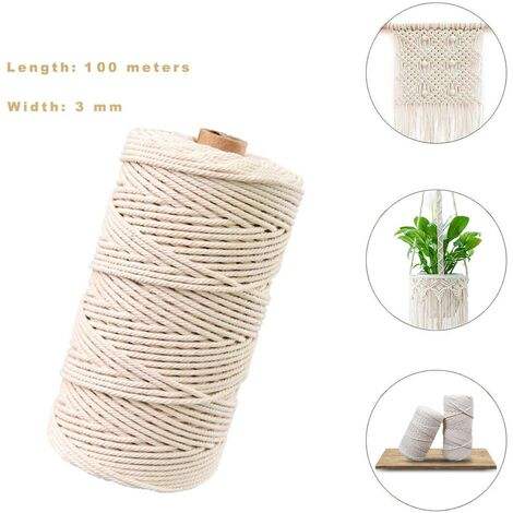 fil de macramé,Coton Naturel Corde en Jute,Corde de Coton Cordon pour Macramé,Corde de Coton,Macramé pour DIY (200M-2mm)