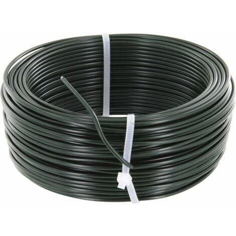Fil de tension cloture galvanisé plastifié vert 2,8mm par 50m