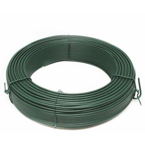 Fil de tension en acier galvanisé plastifié pour grillage ou autre - 100 m x 2.7mm Ø - Vert - Linxor