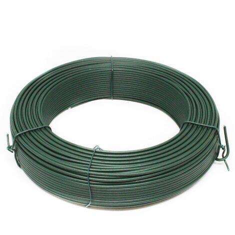 Fil de tension en acier galvanisé plastifié pour grillage ou autre - 100 m x 2.8mm Ø - Vert - Linxor
