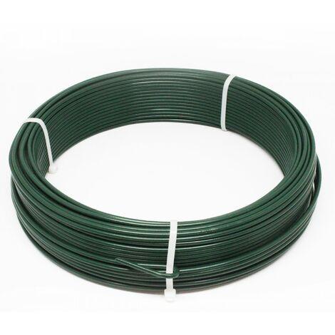 Fil de tension en acier galvanisé plastifié pour grillage ou autre - 50 m x 2.4mm Ø - Vert - Linxor