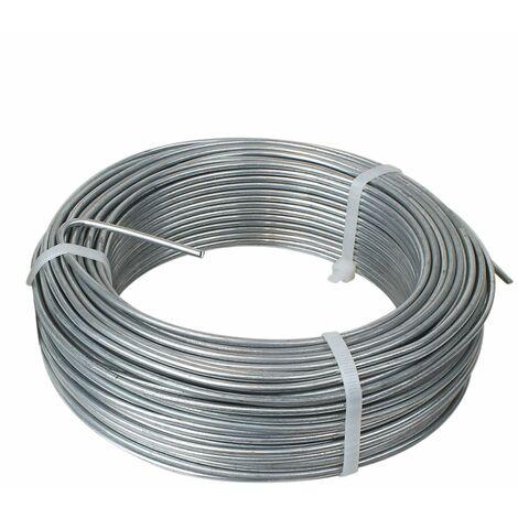Fil de tension en acier galvanisé pour grillage ou autre - 50 m x 2.7mm Ø - Gris - Linxor