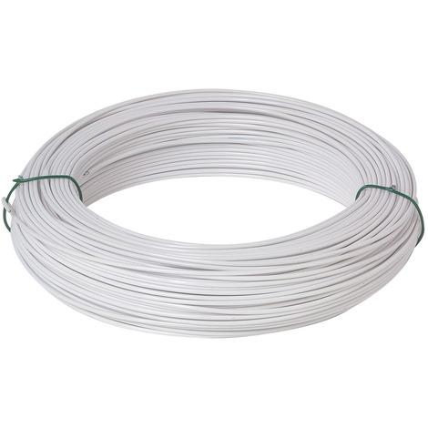 Fil de tension galvanisé plastifié - Longueur 100 m - Diamètre 2,7 mm - Blanc
