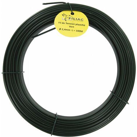 Fil de tension galvanisé plastifie vert 2,4 50