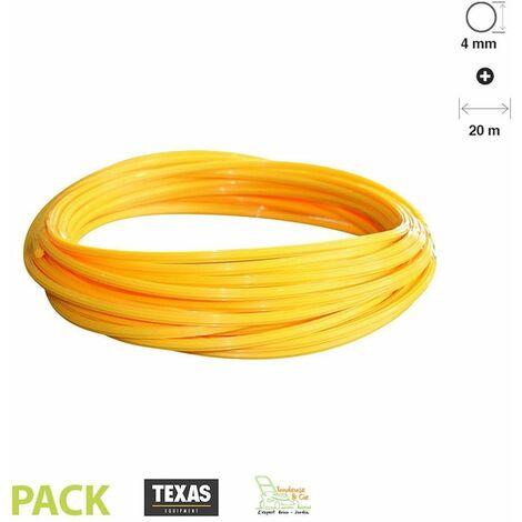 Fil débroussailleuse rond 4 mm ultra-résistant 20 mètres jaune TEXAS