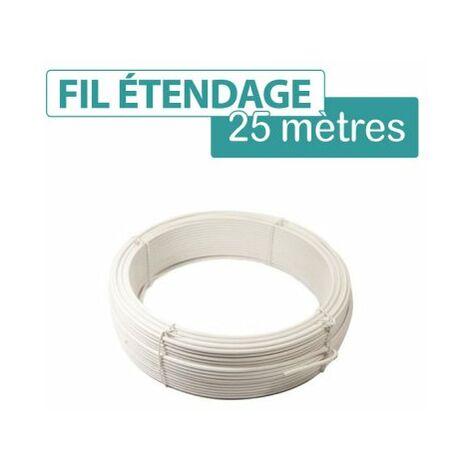 Fil d'étendage plastifié blanc - Diamètre 2.75 mm, Longueur 25 m