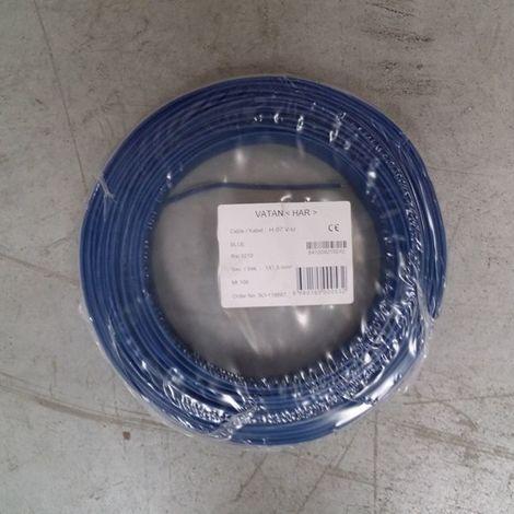 Fil Électrique 1,5mm2 Bleu Rigide H07VU 100m