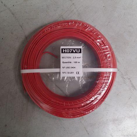 """main image of """"Fil Électrique 2,5mm2 Rouge Rigide H07VU 100m"""""""