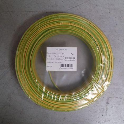 """main image of """"Fil Électrique 2,5mm2 Vert/Jaune Rigide H07VU 100m"""""""