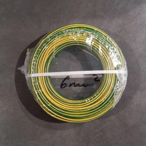 Fil Électrique 6mm2 Vert/Jaune Rigide H07VR 100m