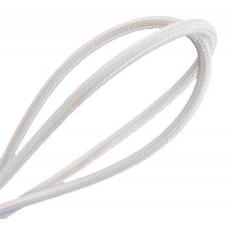 Fil électrique tissé de couleur Blanc vintage look retro en tissu