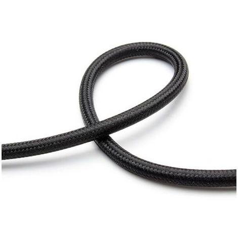 Fil électrique tissé de couleur noir vintage look retro en tissu