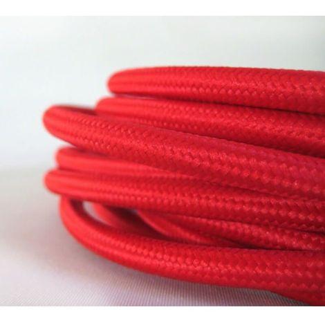 Fil électrique tissé de couleur rouge vintage look rétro