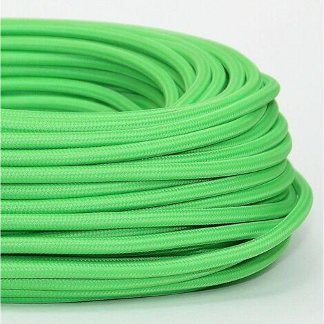 Fil électrique tissé de couleur vert pomme vintage look retro en tissu