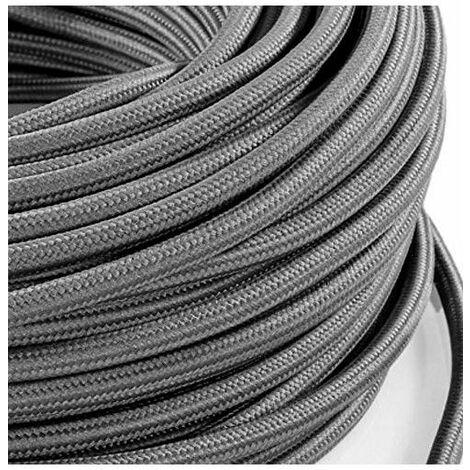 Fil électrique tissé gris vintage look retro en tissu