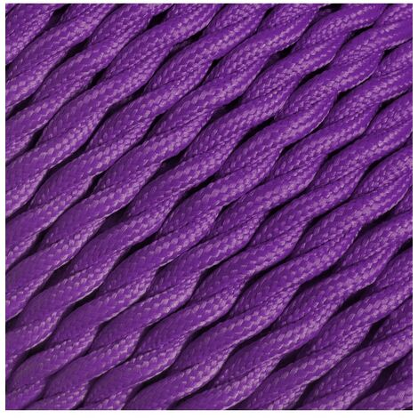 Fil électrique tressé - 2x0.75mm2 - Sur mesure - Couleur Violet