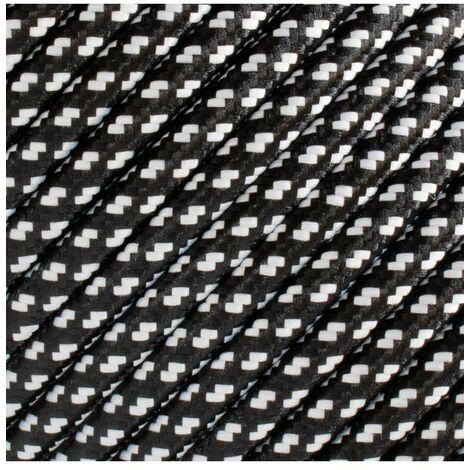 Fil électrique tressé - 2x0.75mm2 - Sur mesure - Noir et blanc