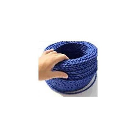 Fil électrique tressé bleu foncé vintage look retro en tissu