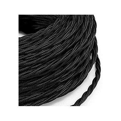 Fil électrique tressé noir vintage look retro en tissu (au mètre)