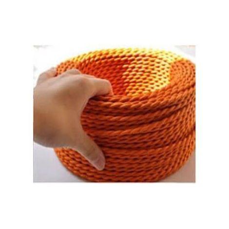 Fil électrique tressé orange vintage look retro en tissu